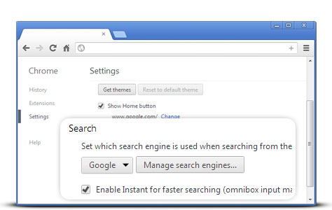 Manage search engine chrome