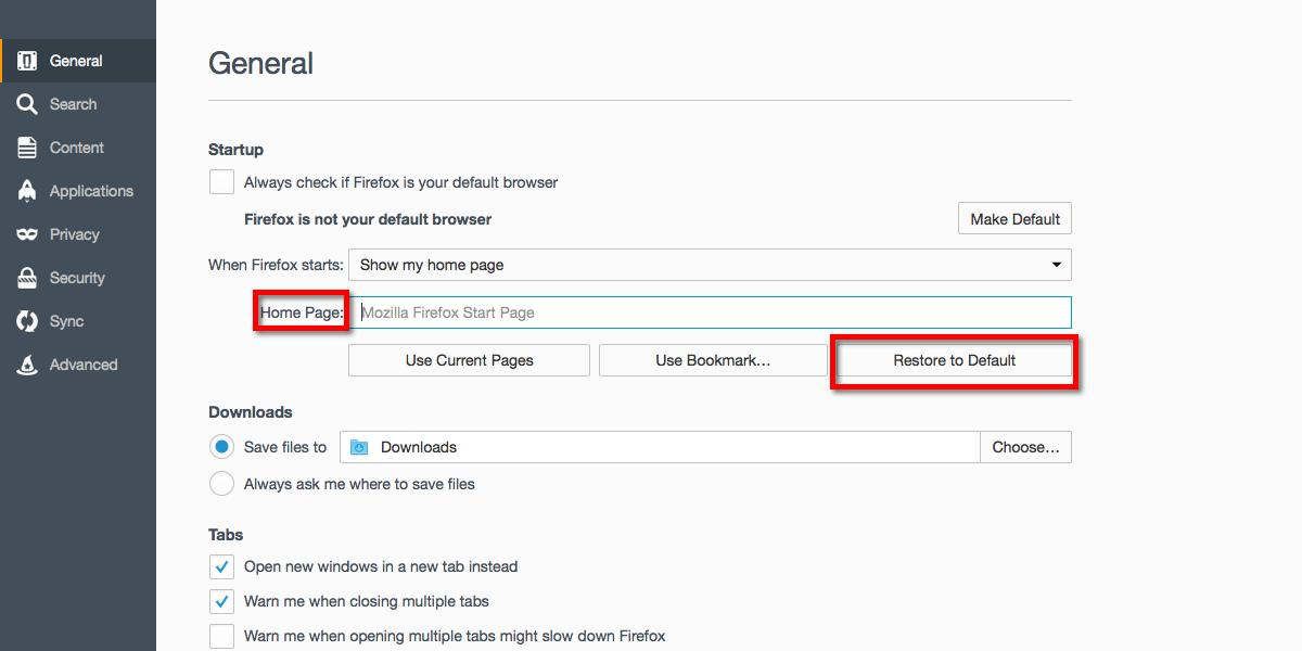 Mozilla ripristinare homepage di default