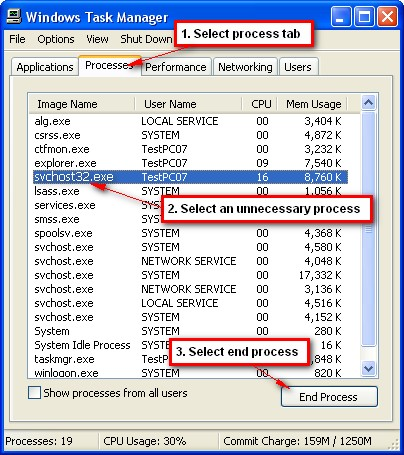 Step 7 Task Manager How to Remove Malware From Windows XP