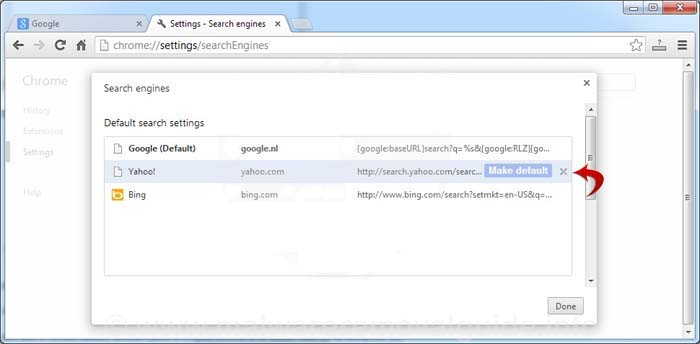 chrome search engine make default