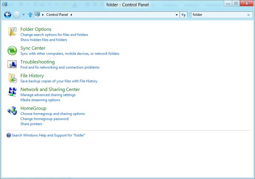 folder option