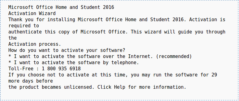 Microsoft Office Activation Wizard Tech Support Scam