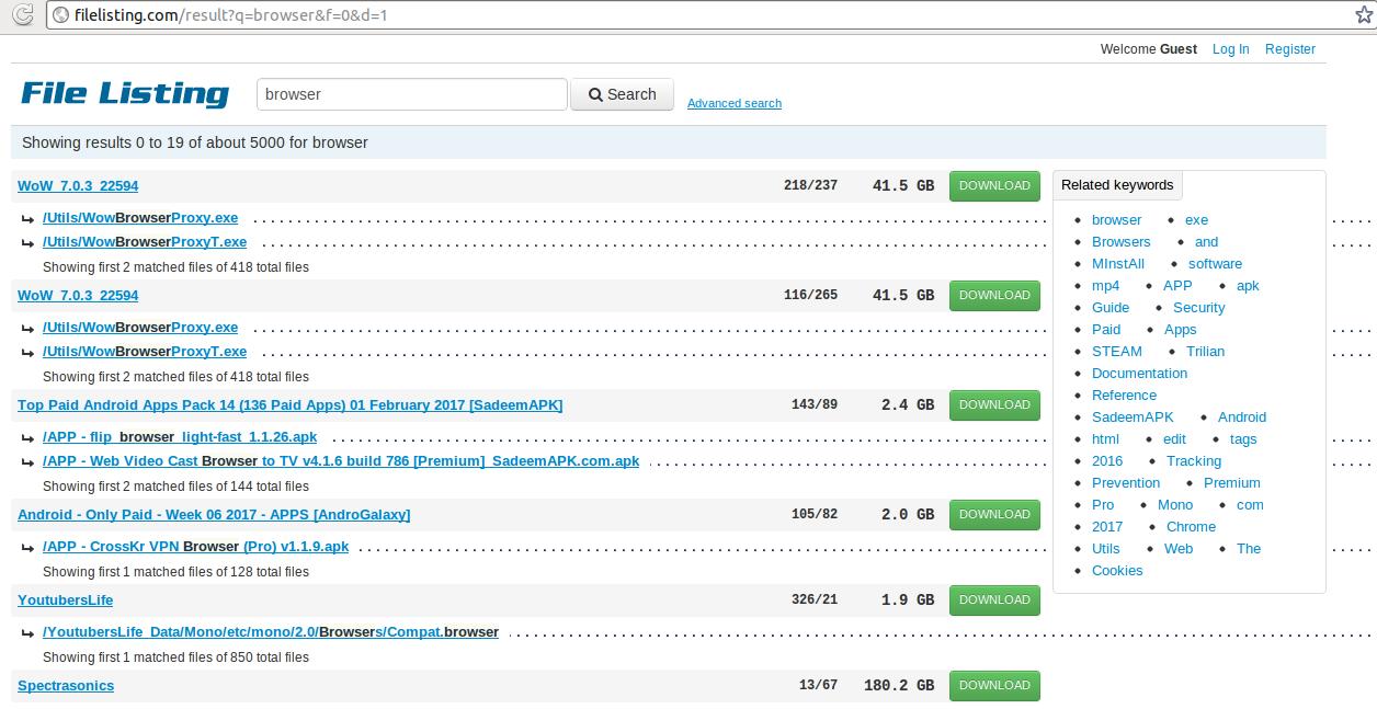 la eliminación Filelisting.com