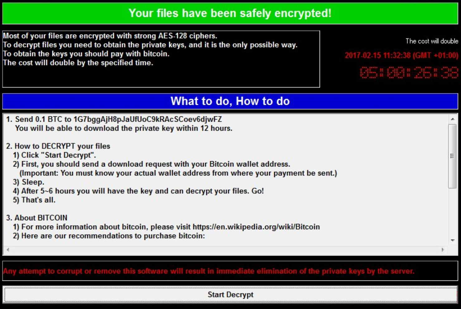 Wcry ransomware  ransom note Wcry ransomware: How To Delete It And Restore Encrypted Files