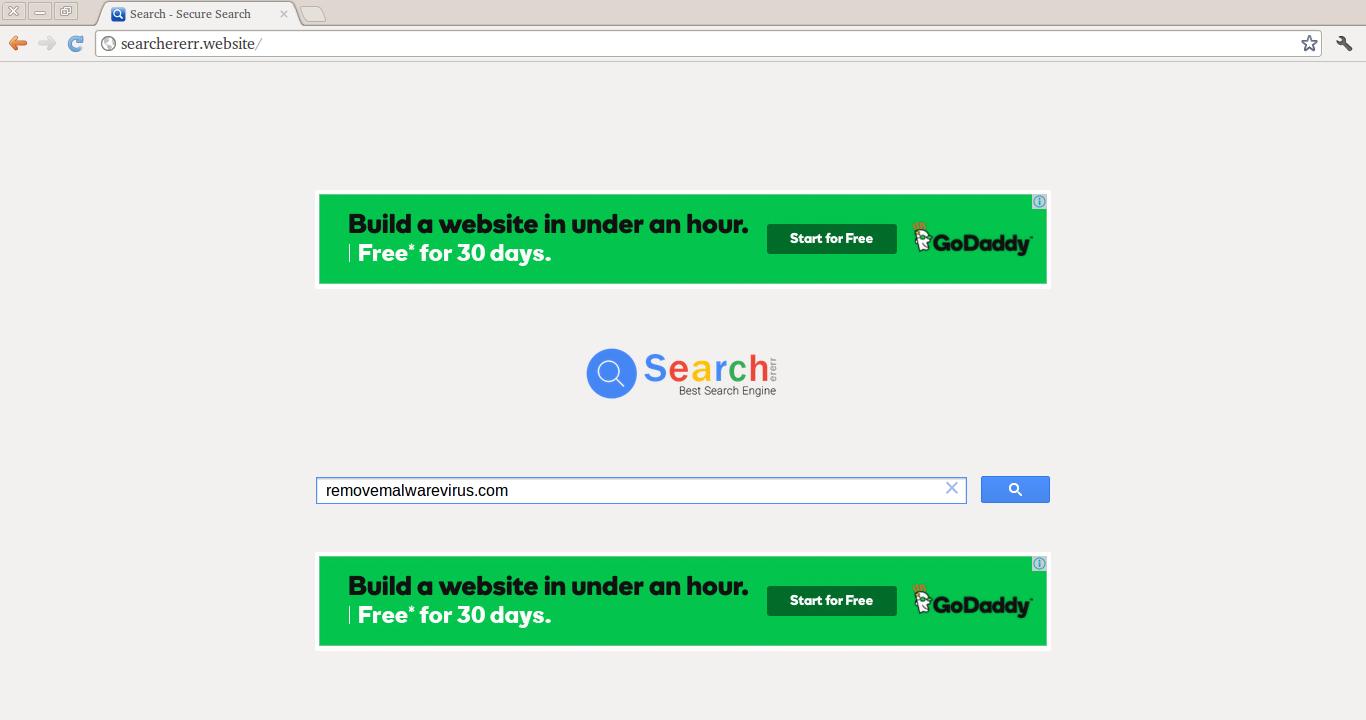 Elimina il sito Searchererr.website