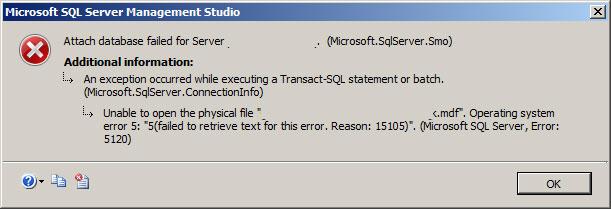 mdf database error