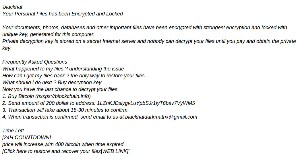 entfernen BlackHat Ransomware