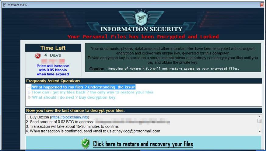 Delete MoWare H.F.D ransomware