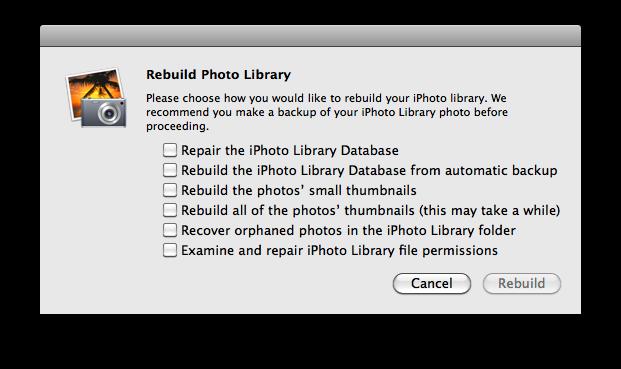 rebuild iphoto library database