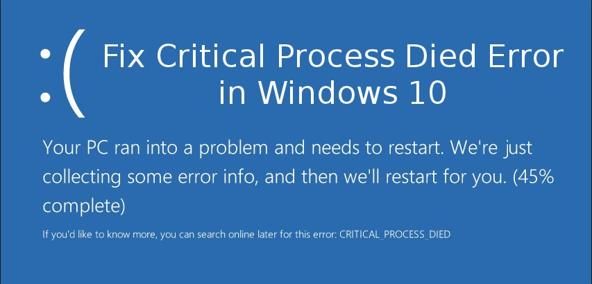 Fix Critical Process Died Error in Windows 10