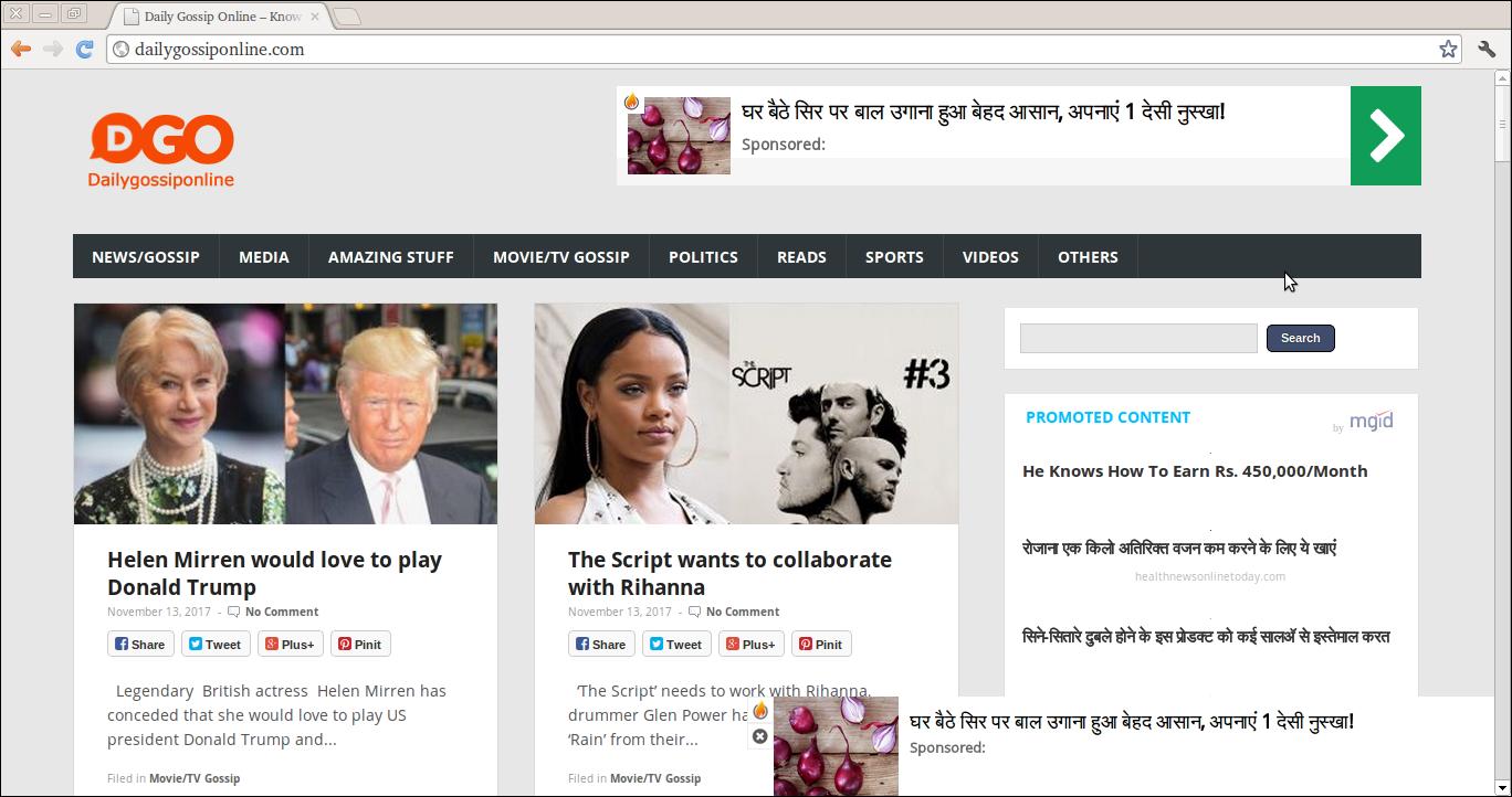 Löschen Sie Anzeigen von Daily Gossip Online