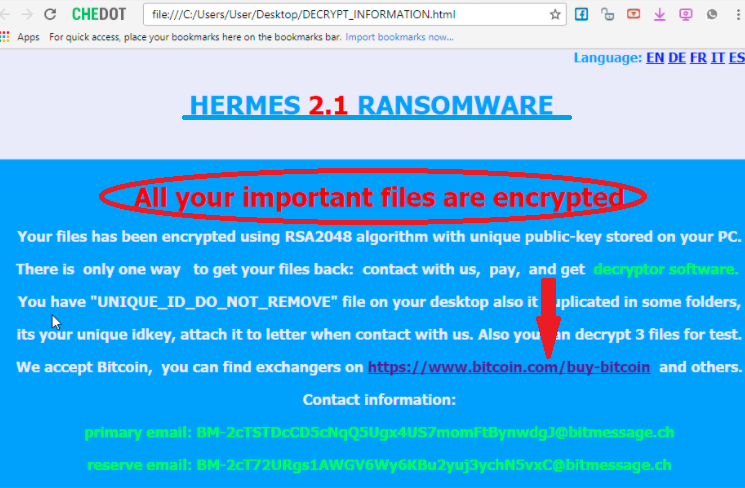 supprimer Hermes 2.1 Ransomware