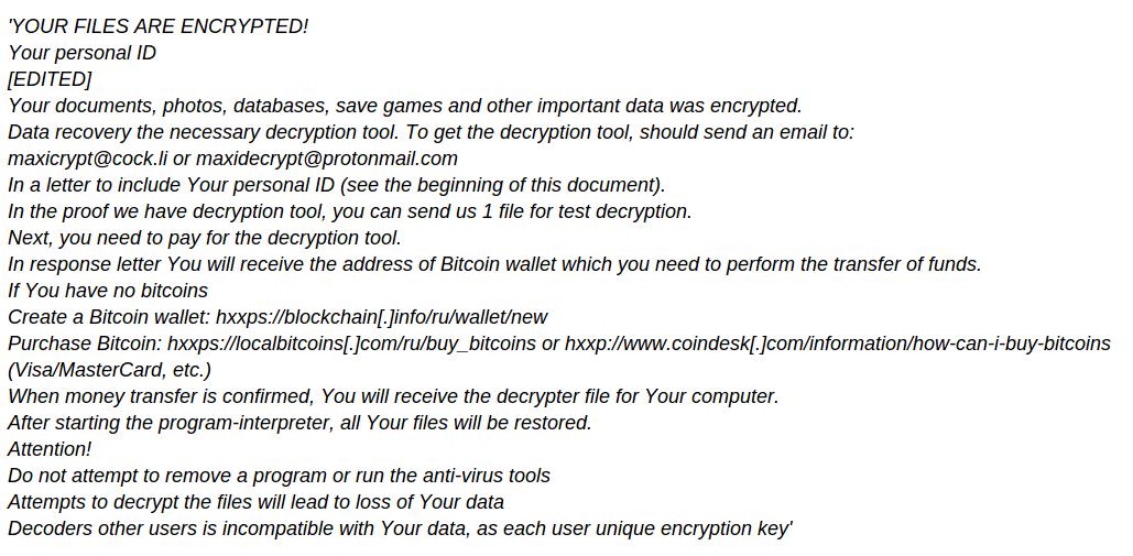 rimuovere MaxiCrypt Ransomware