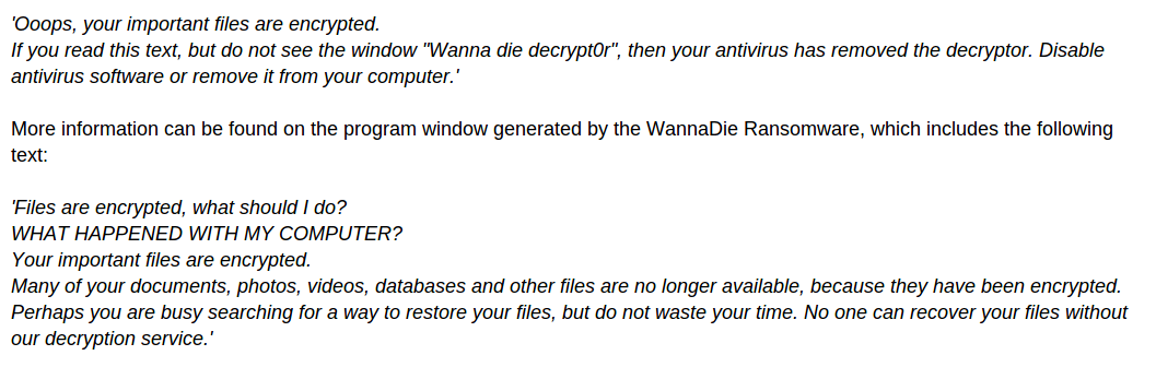 remove WannaDie Ransomware