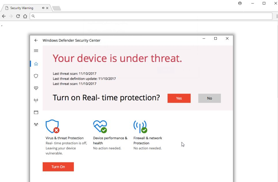 remove Your device is under threat Pop-ups