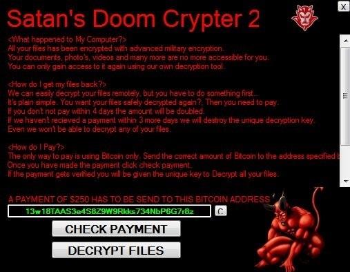 Ransom Note von Satans Doom Ransomware