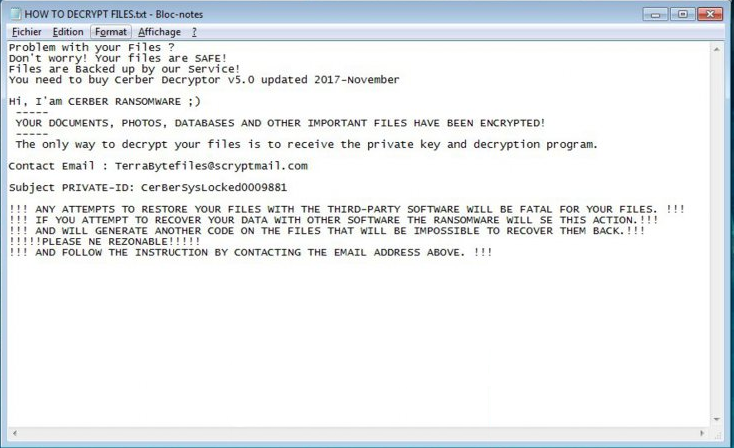 Ransom Note of CerBerSysLock Ransomware
