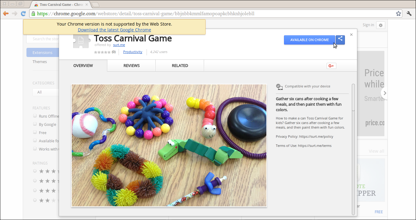 Delete Toss Carnival Game Extension