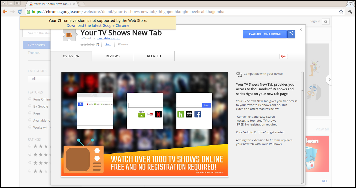 Delete Your TV Shows New Tab
