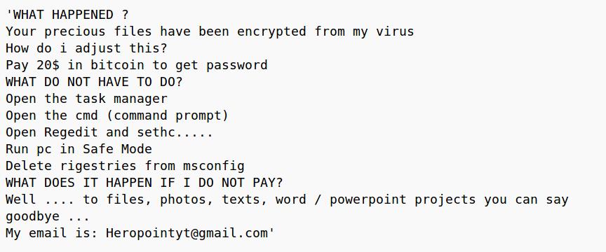 Entfernen Sie Heropoint Ransomware