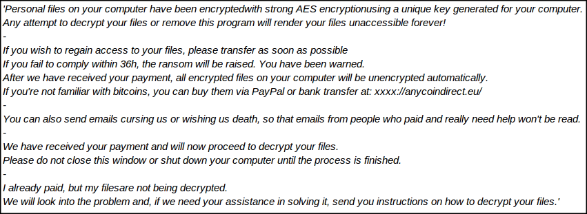 Ransom Message of LazagneCrypt Ransomware