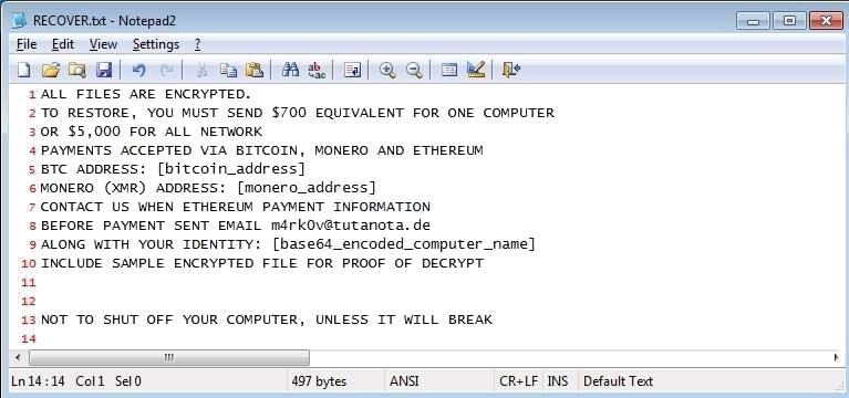 Ransom Message of EncryptServer2018 Ransomware