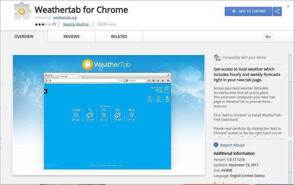 uninstall Weathertab For Chrome