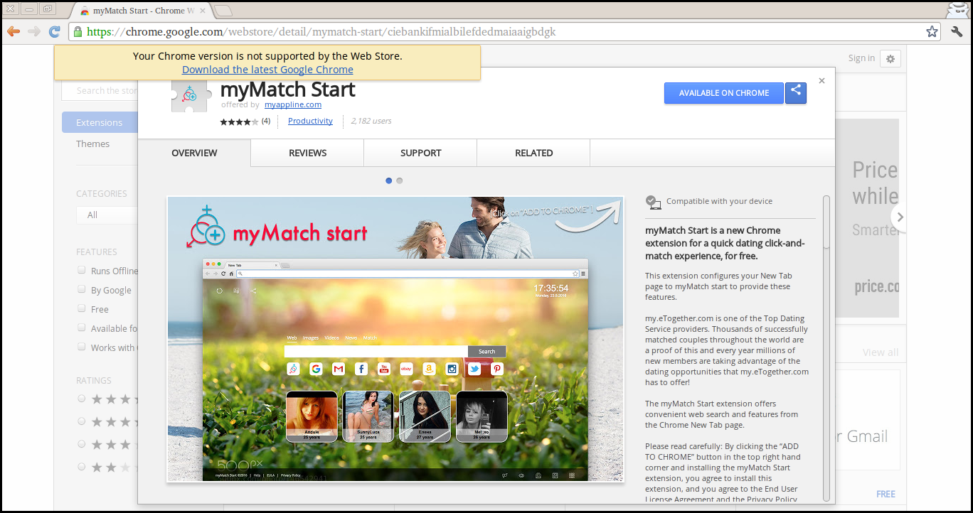 Delete myMatch Start Extension