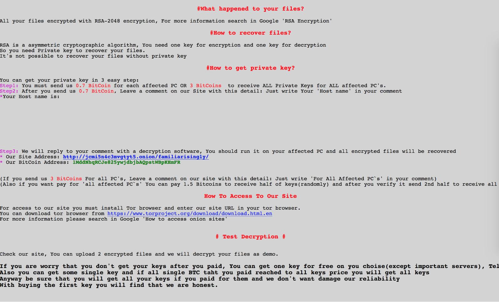 Lösegeld Hinweis von .weapologize Datei Virus