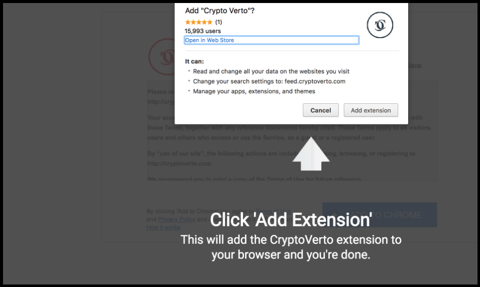 CryptoVerto Search Extension