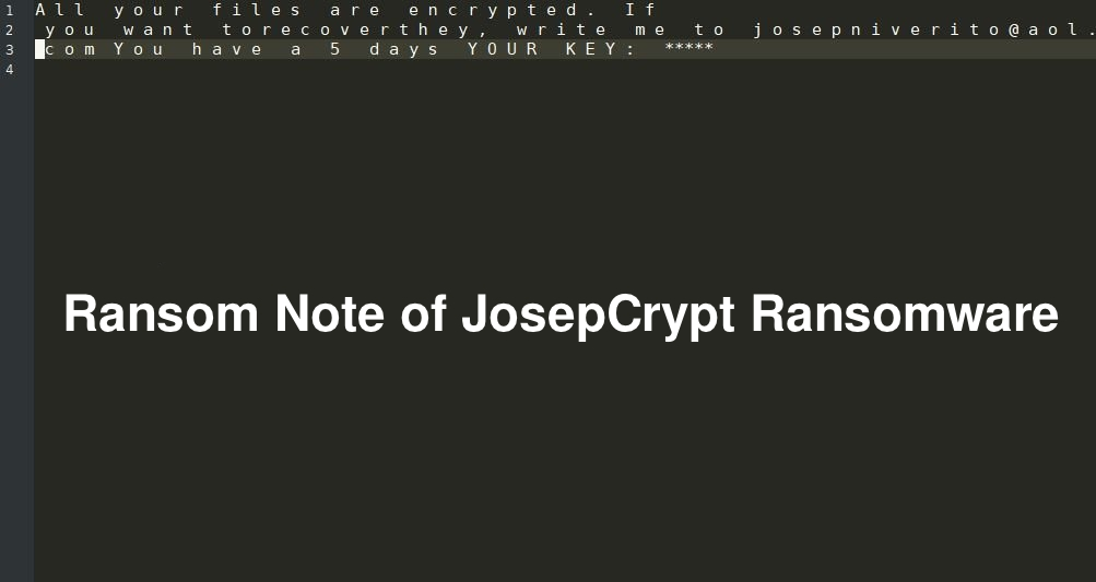 Ransom Note of JosepCrypt Ransomware