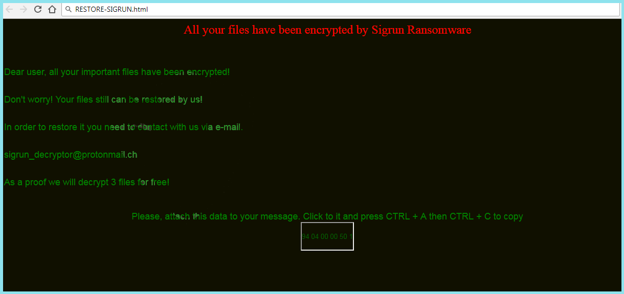 Sigrun Ransomware