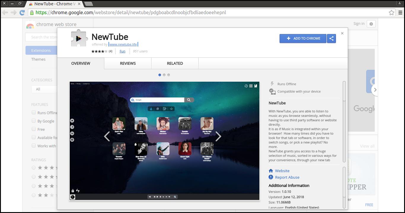 Eliminar la extensión de NewTube Chrome