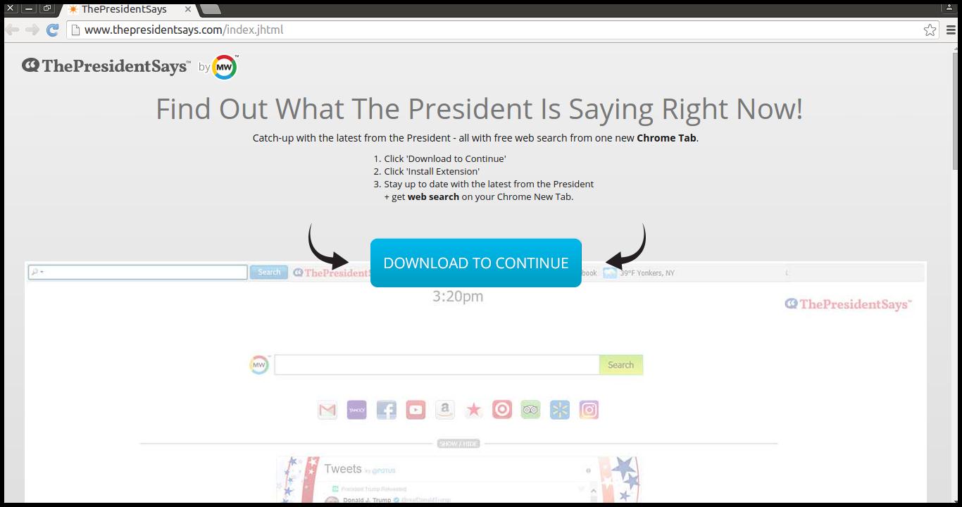 Delete ThePresidentSays Extension