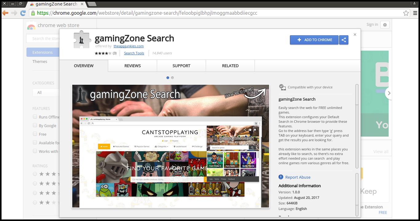 Lösche die gamingZone Suche