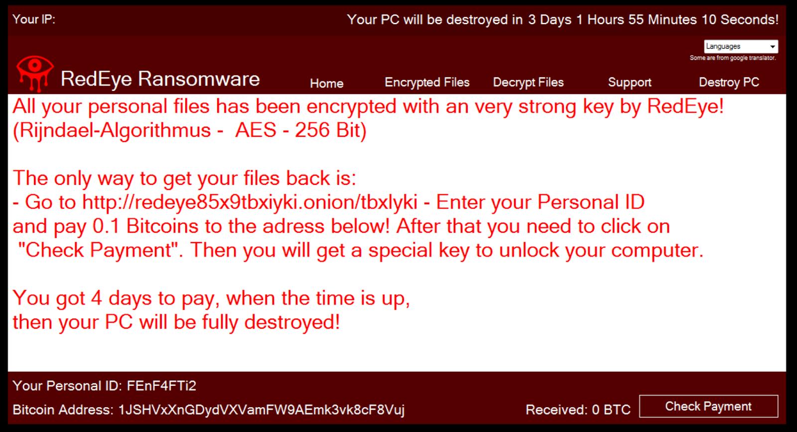 Ransom Note of RedEye Ransomware