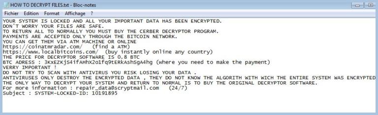 Ransom Note of Repair_data@scryptmail.com Virus