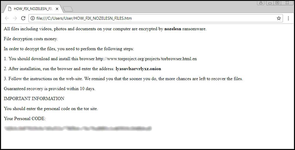 Lösegeld Hinweis von. Noelesn Datei Ransomware
