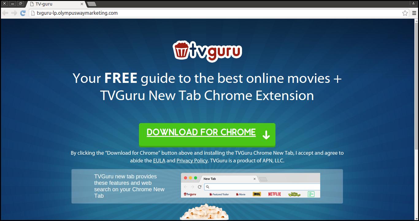 Delete TV Guru New Tab Extension