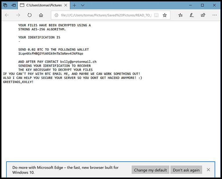 Usuń .kvllyatprotonmaildotch File Extension Ransomware