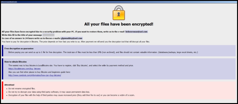 Ransom Note of .gamma File Extension Ransomware