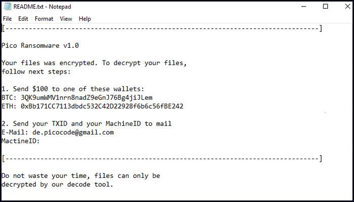 Ransom Note of Pico Ransomware - Remove Malware Virus
