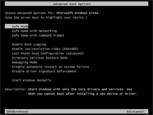 F8 safemode How to Remove Malware From Windows XP