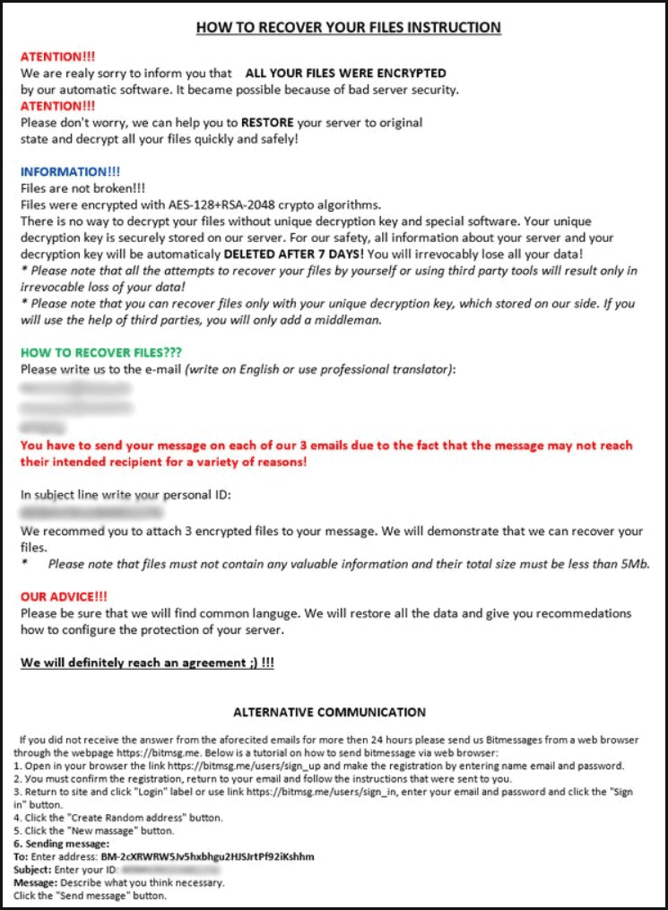 Note de rançon de Matrix-NOBAD Ransomware