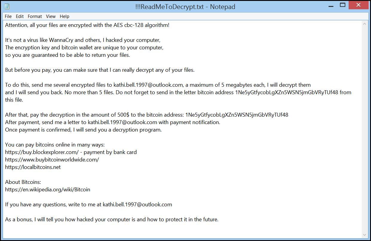 Note de rançon de Qweuirtksd ransomware