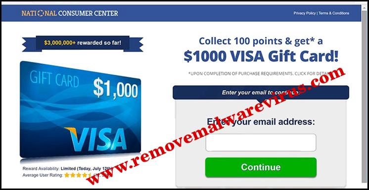 Eliminar $ 1000 VISA tarjeta de regalo emergente