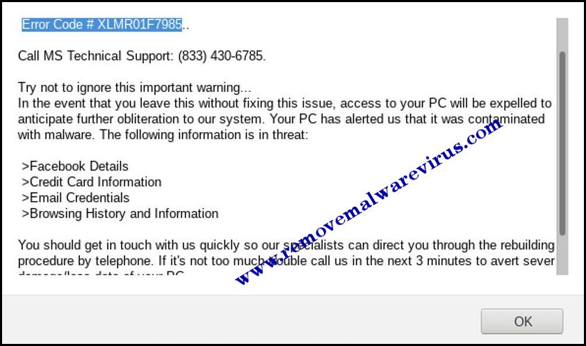 Eliminar código de error XLMR01F7985