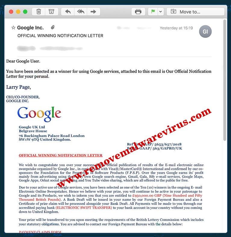 Eliminar el ganador de Google Correo electrónico estafa