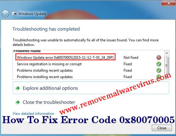 Fix Error Code 0x80070005
