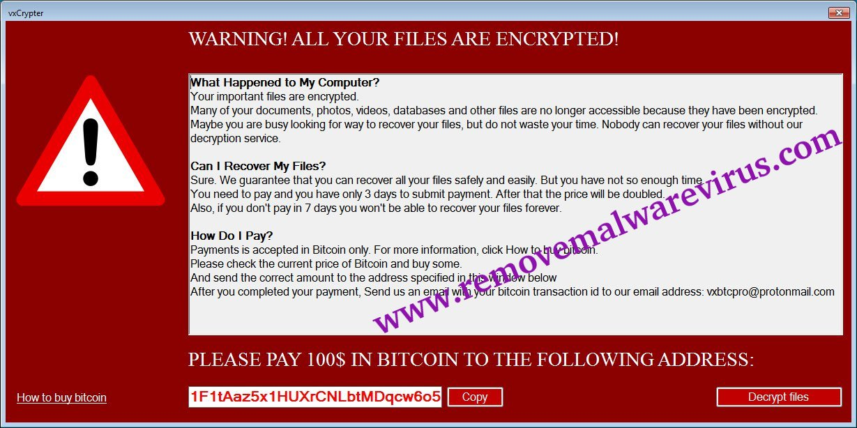 Ransom Note of VxCrypter Ransomware
